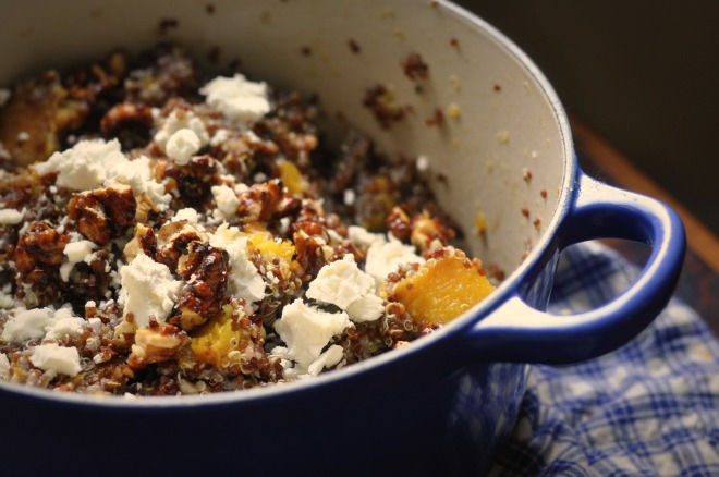 Red Quinoa with Acorn Squash, Candied Nuts, Goat Cheese & Orange ...