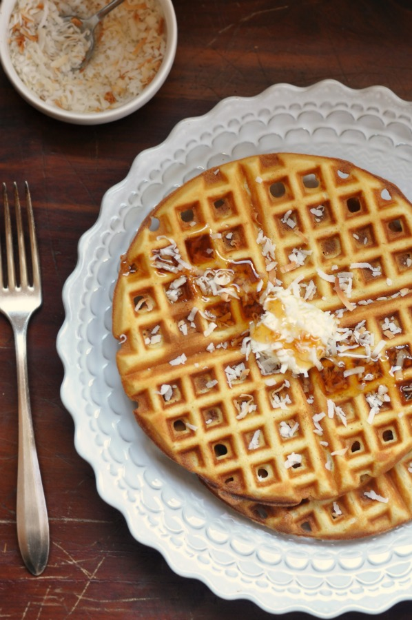 coconut waffles with syrup